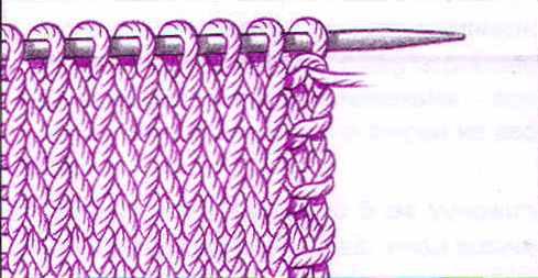Кромка платочным вязанием.