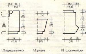 Плотность вязания (в среднем): 24 п.Х32 п.=10Х10 см