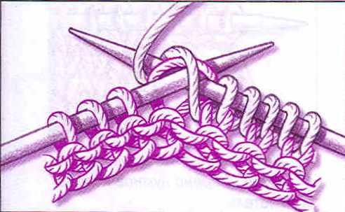 Накидываем нить на две спицы и
